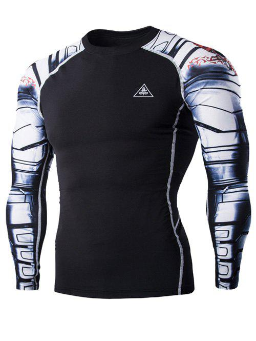 Sports 3D Skulls Printing Round Neck Long Sleeves Men's Compression T-Shirt
