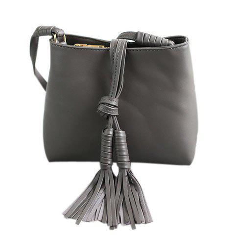 Retro Zipper and Tassels Design Women's Crossbody Bag - GRAY