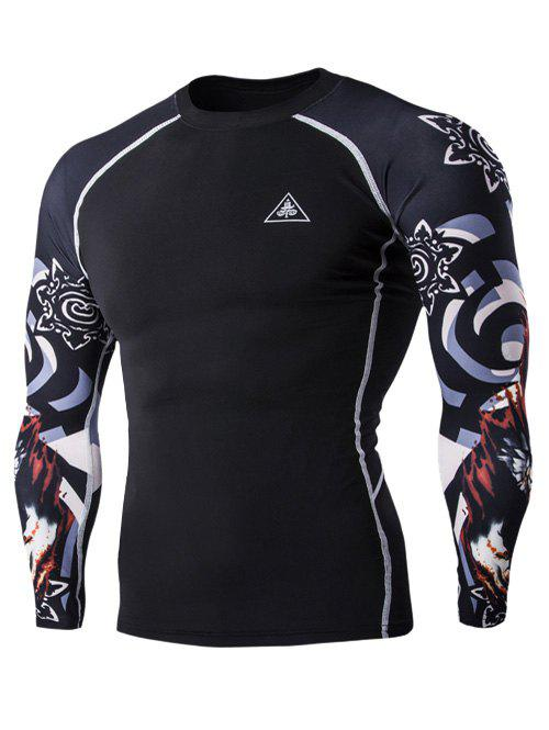3D Wolf Head Print Round Neck Long Sleeves Men's Compression T-Shirt - BLACK L