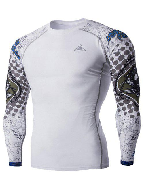 Round Neck 3D Skulls Print Long Sleeves Men's Compression T-Shirt - 2XL WHITE