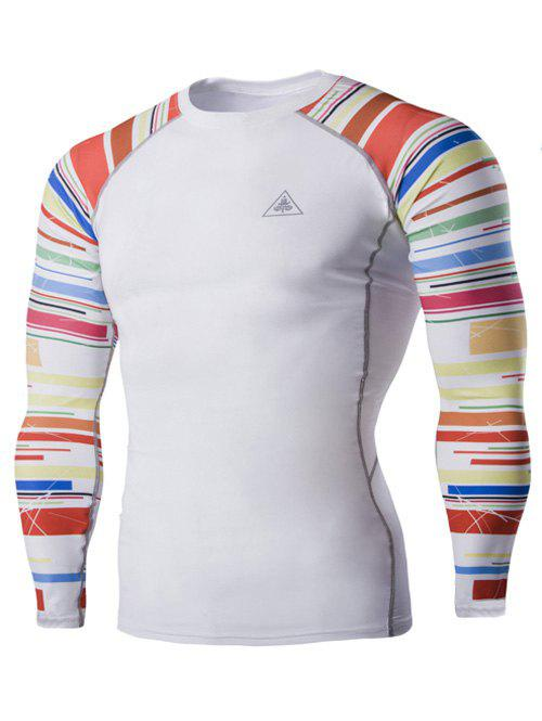 Colorful Stripes Round Neck Long Sleeves Men's Quick-Dry T-Shirt - WHITE 2XL