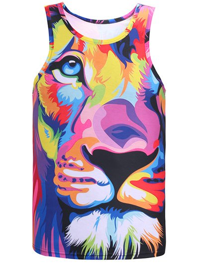 Round Neck Animal Printed Colorful Tank Top - COLORMIX 2XL