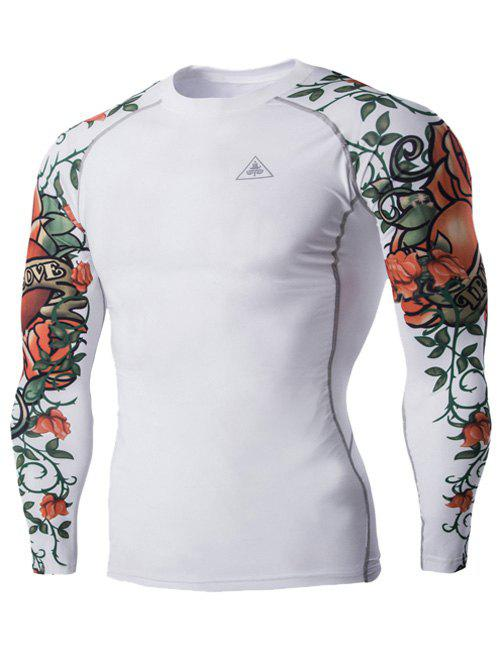 Sports 3D Flower Print Long Sleeves Men's Compression T-Shirt - WHITE 2XL