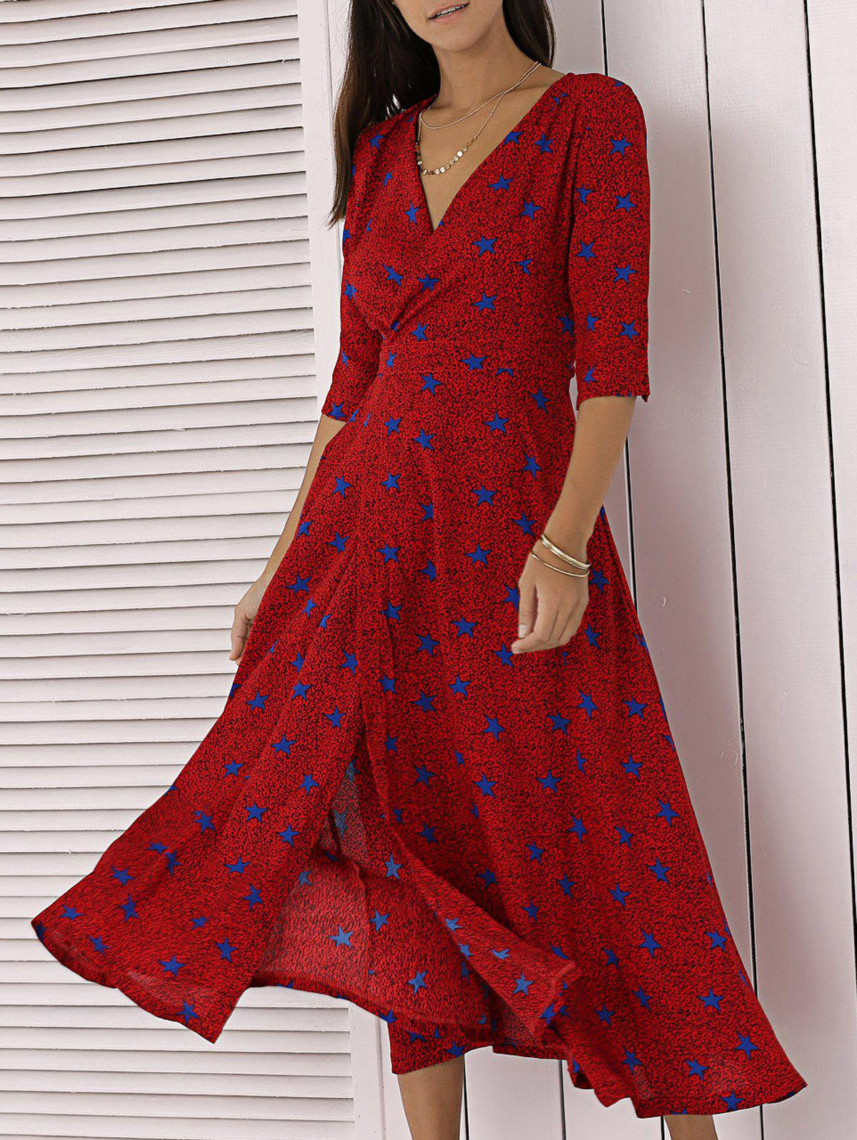 Elegant V  Neck Star Print Wrap Midi Dress - RED XL