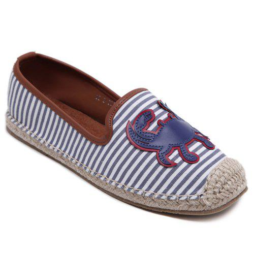 Leisure Striped and Espadrilles Design Women's Flat Shoes - BLUE 39