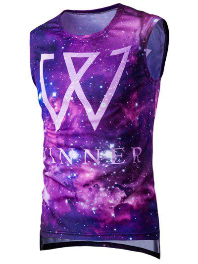 Asymmetric Hem 3D Starry Sky Printed Men's Sports Tank Top