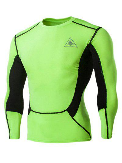Color Block Round Neck Long Sleeves Men's Compression T-Shirt - NEON BRIGHT GREEN 2XL