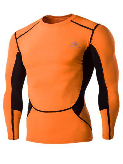 Color Block Round Neck Long Sleeves Men's Compression T-Shirt - ORANGE RED M