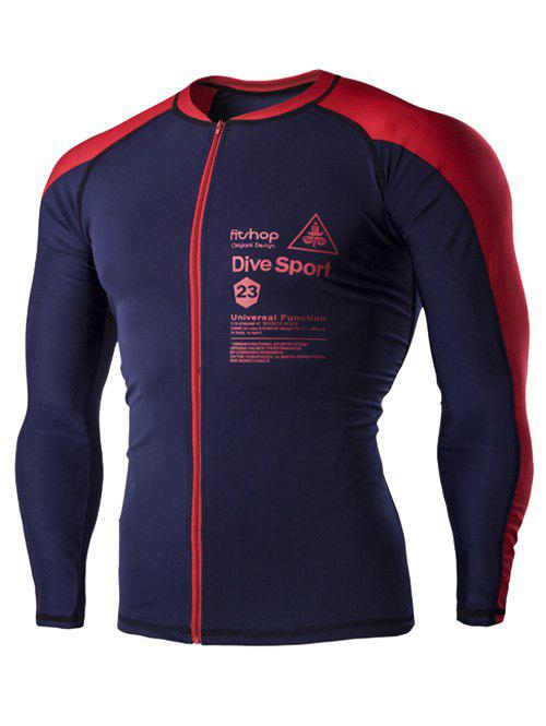 Color Block Letters Print Men's Long Sleeves Cycling Jersey - RED 2XL