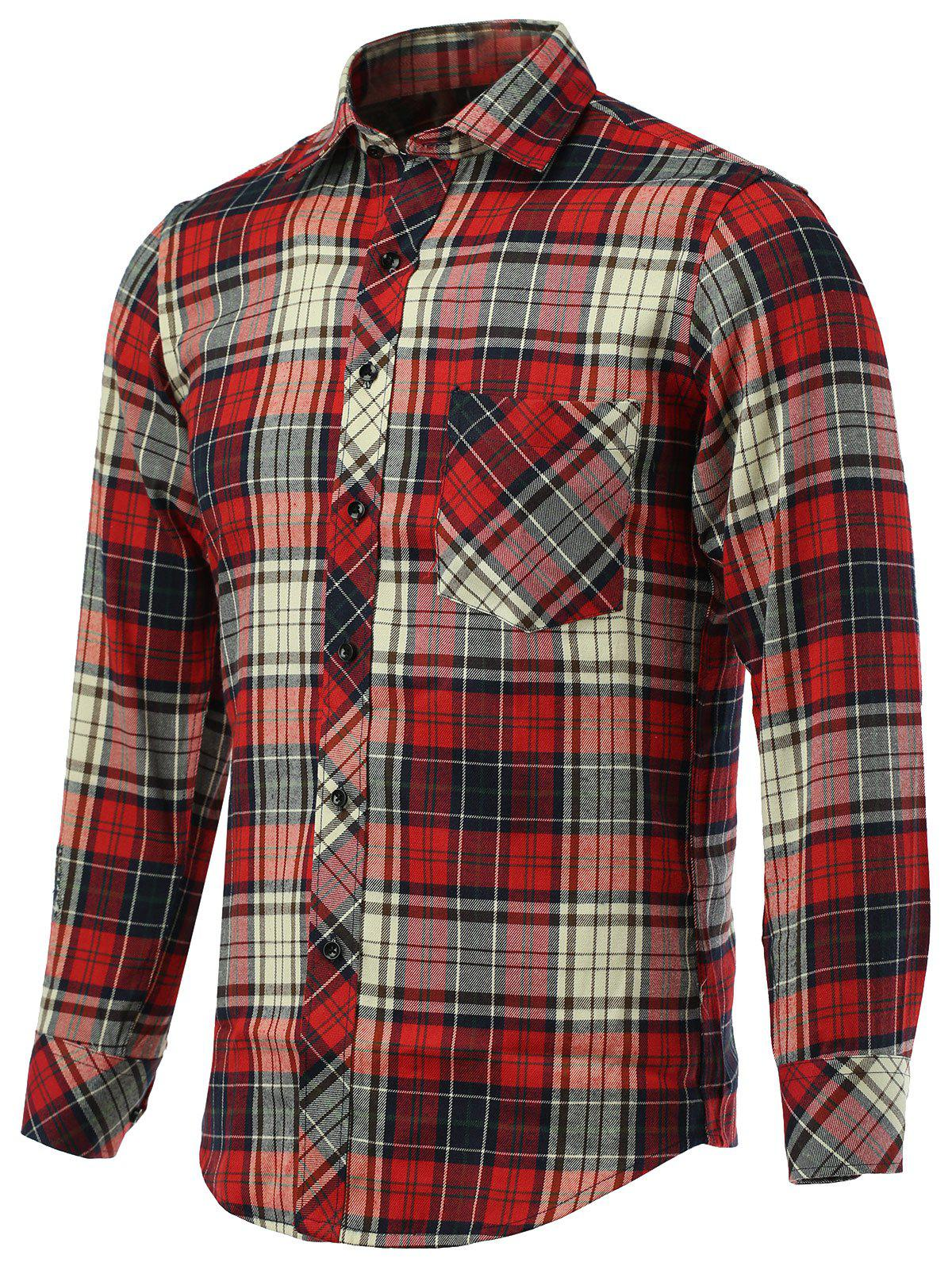 Tartan Pockets Design Turn-Down Collar Long Sleeve Shirt