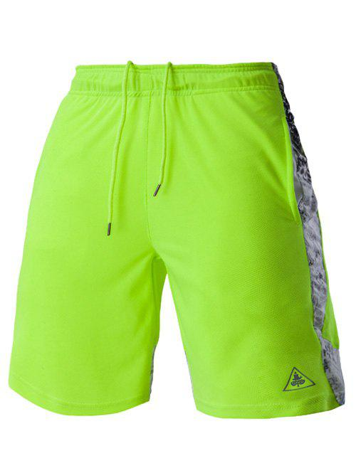 Mesh Design Print Spliced Men's Lace-Up Straight Leg Sports Shorts - NEON BRIGHT GREEN 2XL
