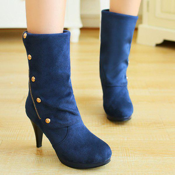 Trendy Rivet and Flock Design Women's Mid-Calf Boots - BLUE 38
