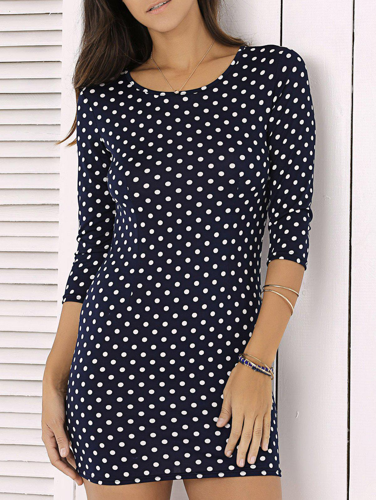Fashion Polka Dot Print 3/4 Sleeve Sheath Mini DressWomen<br><br><br>Size: M<br>Color: DEEP BLUE