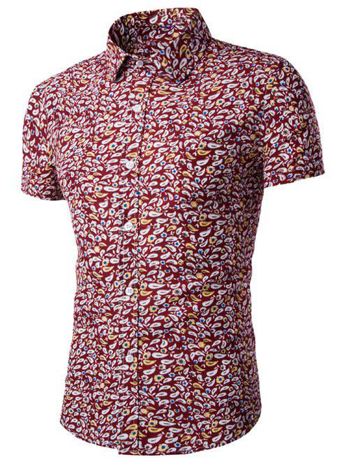 Casual Shirt Collar Men's Fitted Floral Shirt - RED XL