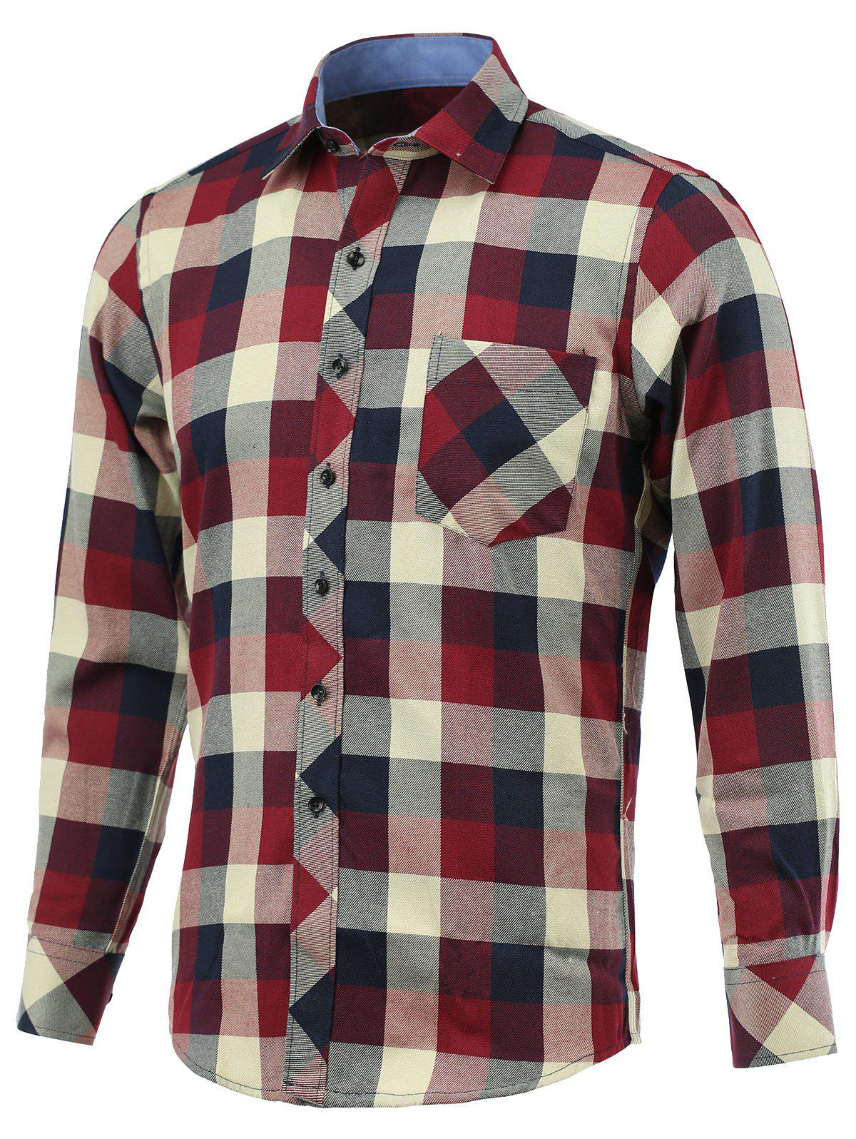 Color Block Checked Pockets Design Turn-Down Collar Long Sleeve Shirt - COLORMIX 5XL