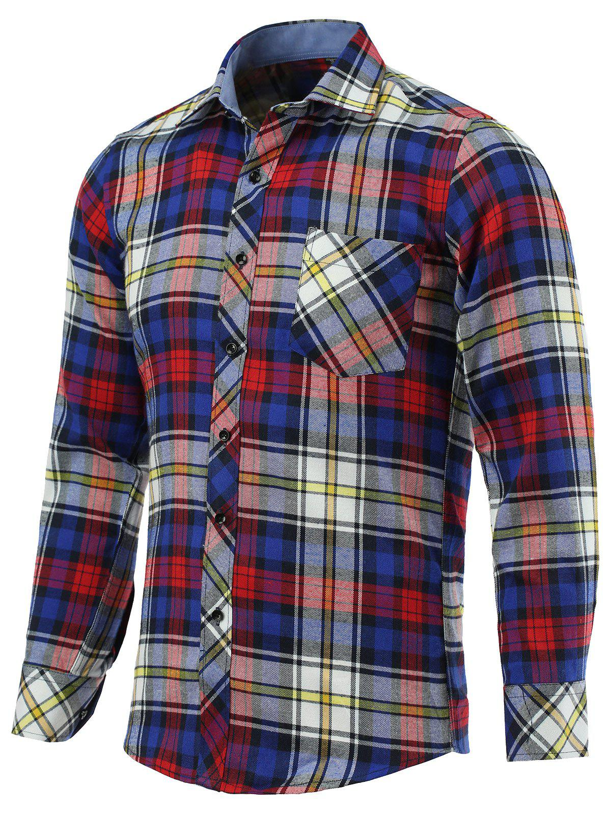 Color Block Checked Pockets Turn-Down Collar Long Sleeve Shirt - CHECKED 5XL