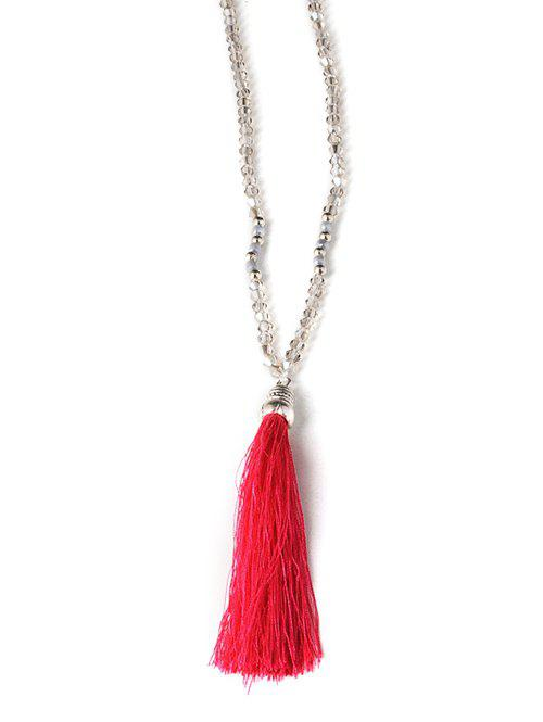 Tassel Beaded Sweater Chain - RED