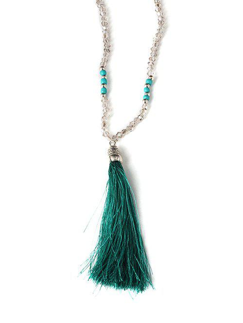 Tassel Beaded Sweater Chain - GREEN
