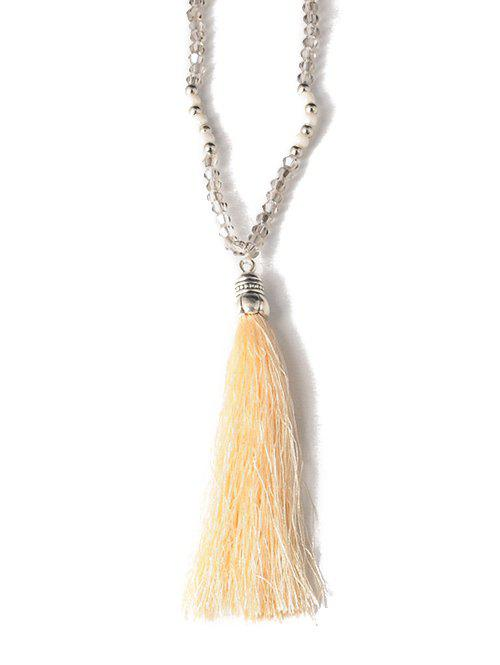 Tassel Beaded Sweater Chain - OFF WHITE