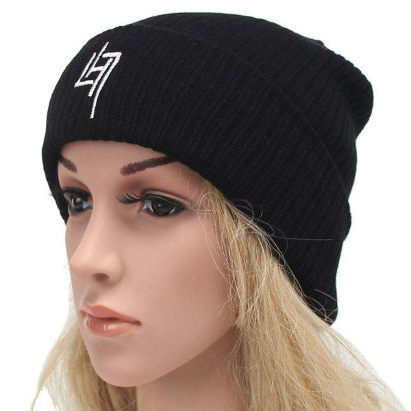 Stylish Winter Outdoor Warm Letter Number Embroidery Knitted Beanie - BLACK
