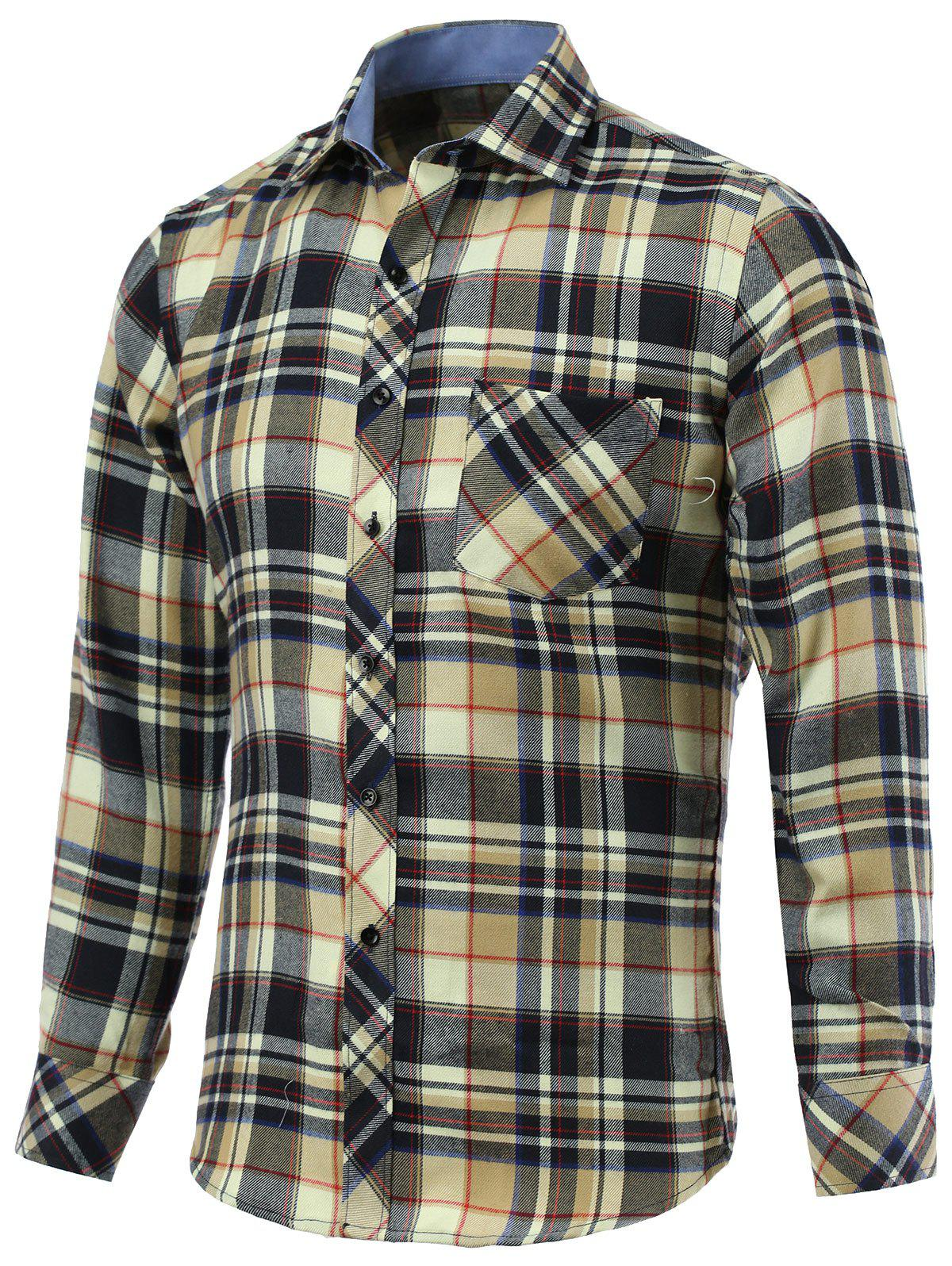 Tartan Pockets Embellished Turn-Down Collar Long Sleeve Shirt