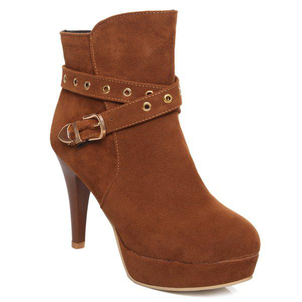 Stylish Eyelet and Buckle Design Women's Ankle Boots - BROWN 43