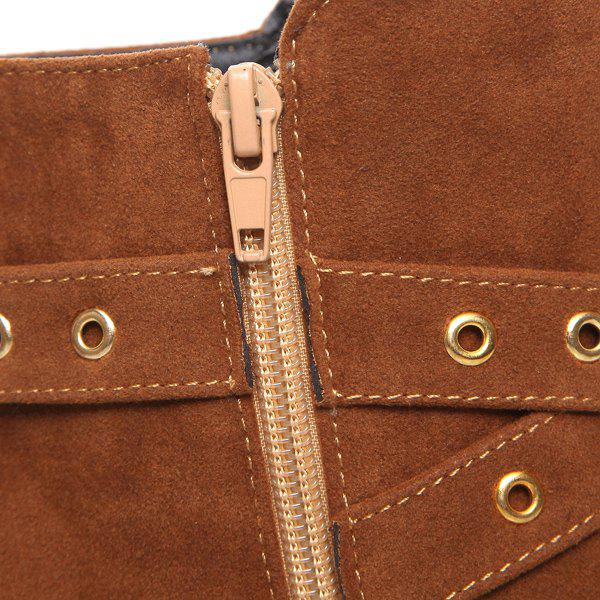 Stylish Eyelet and Buckle Design Women's Ankle Boots - BROWN 41