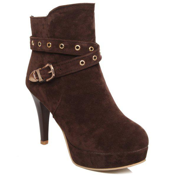Stylish Eyelet and Buckle Design Women's Ankle Boots - DEEP BROWN 41
