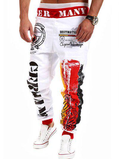 Fashion Lace-Up Splash-Ink Letters Print Loose Fit Beam Feet Men's Polyester Sweatpants - WHITE L