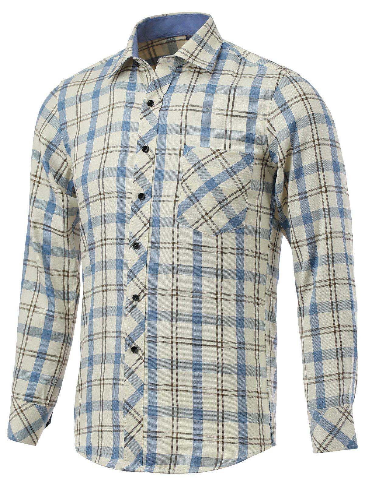 Tartan Pocket Embellished Turn-Down Collar Long Sleeve Shirt