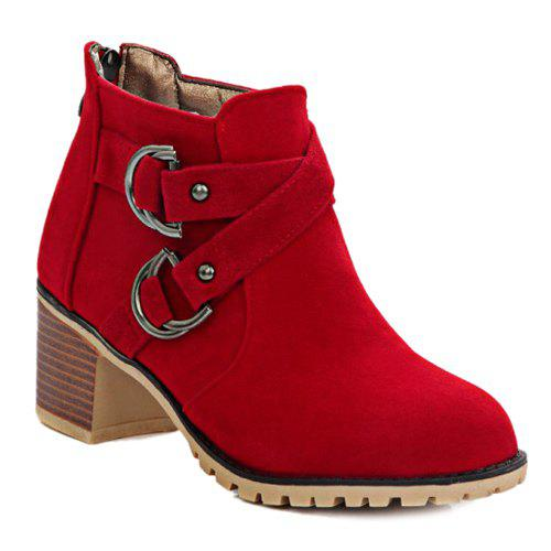 Stylish Metal and Cross Straps Design Women's Ankle Boots - RED 37