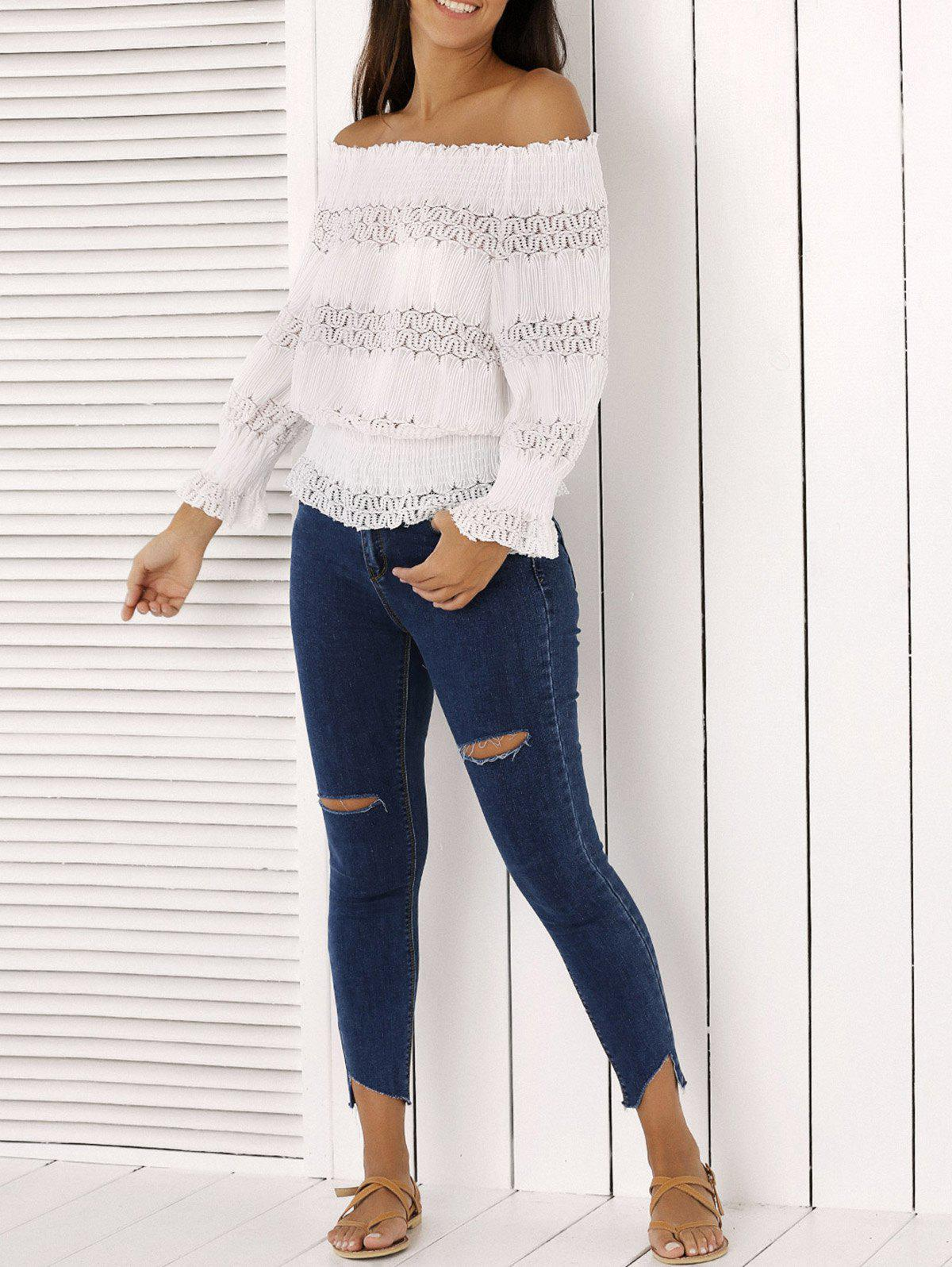 Mode Off The Shoulder Peplum Top et Distressed Skinny Jeans - Denim Bleu L