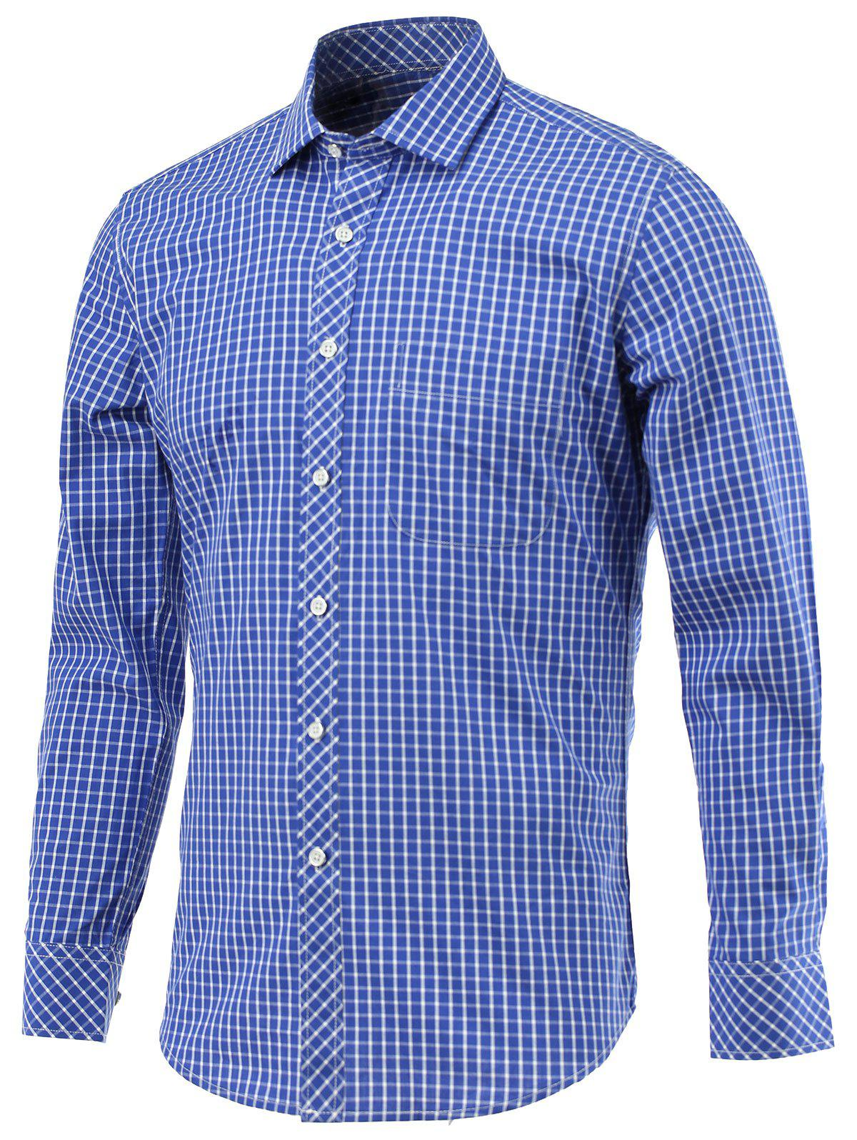 Small Grid Pocket Embellished Turn-Down Collar Long Sleeve Shirt - BLUE 5XL