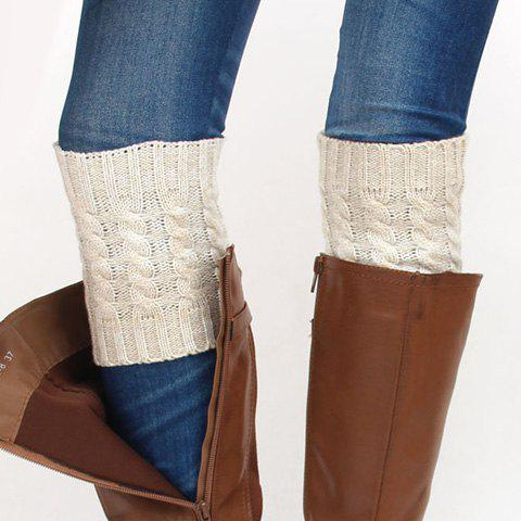 Pair of Winter Color Block Hemp Flowers Knitted Boot Cuffs - OFF WHITE