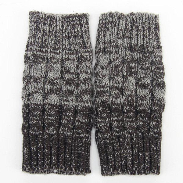 Pair of Winter Color Block Hemp Flowers Knitted Boot Cuffs