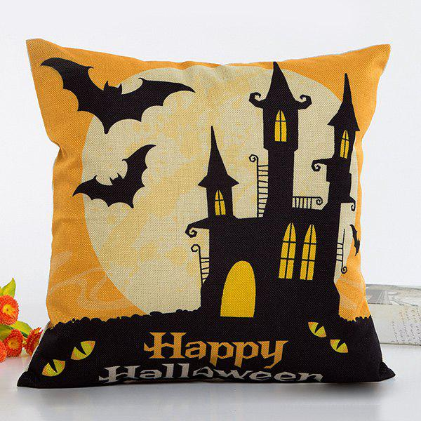 Chic Happy Halloween House Bat Pattern Flax Pillow Case - BLACK/ORANGE