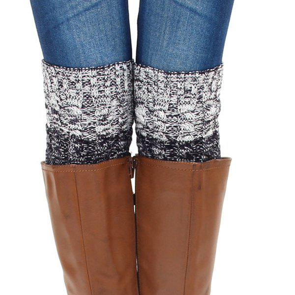 Buy Pair Winter Color Block Hemp Flowers Knitted Boot Cuffs LIGHT GRAY