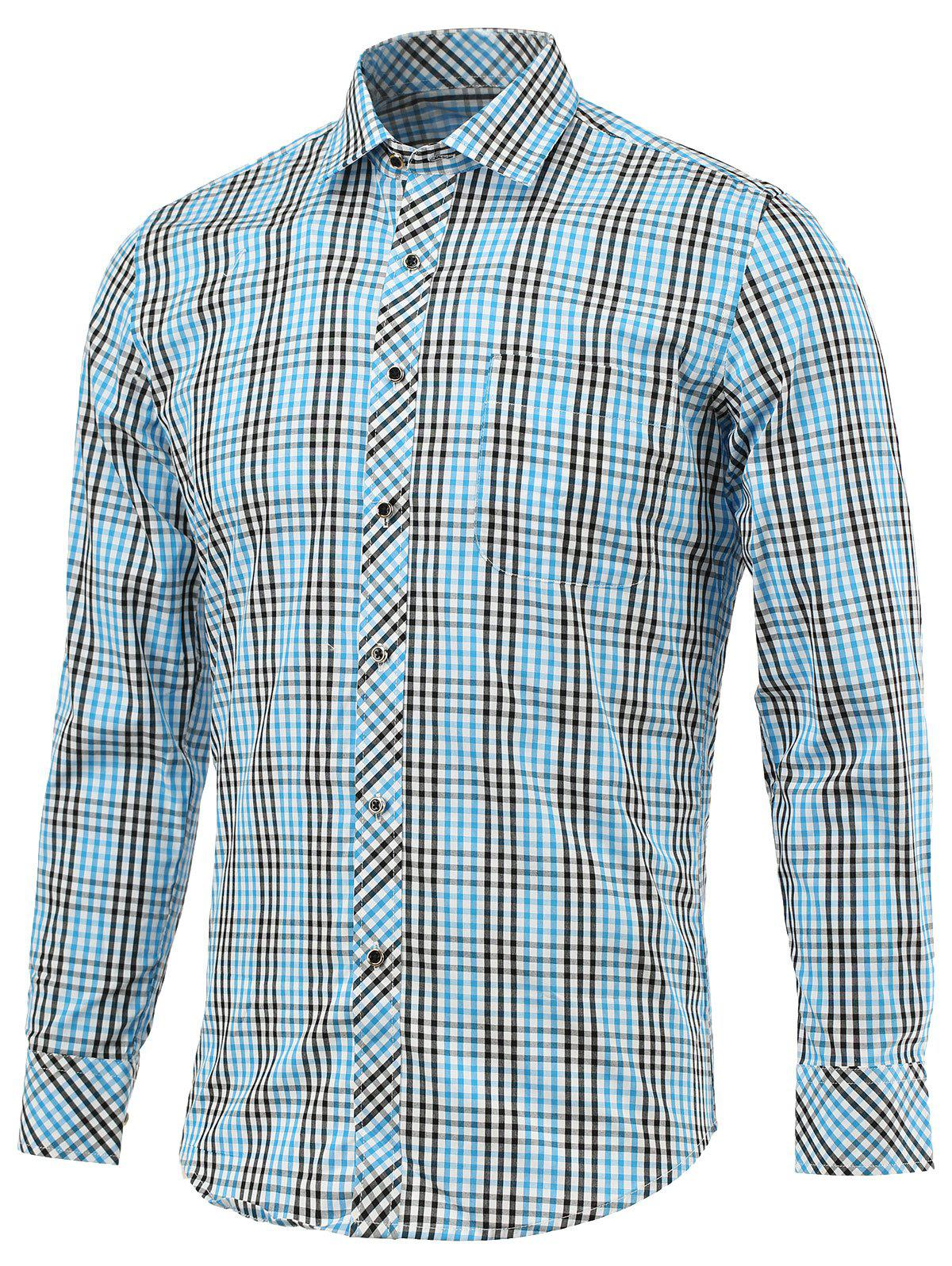 Color Block Small Grid Turn-Down Collar Long Sleeve Shirt - BLUE 5XL