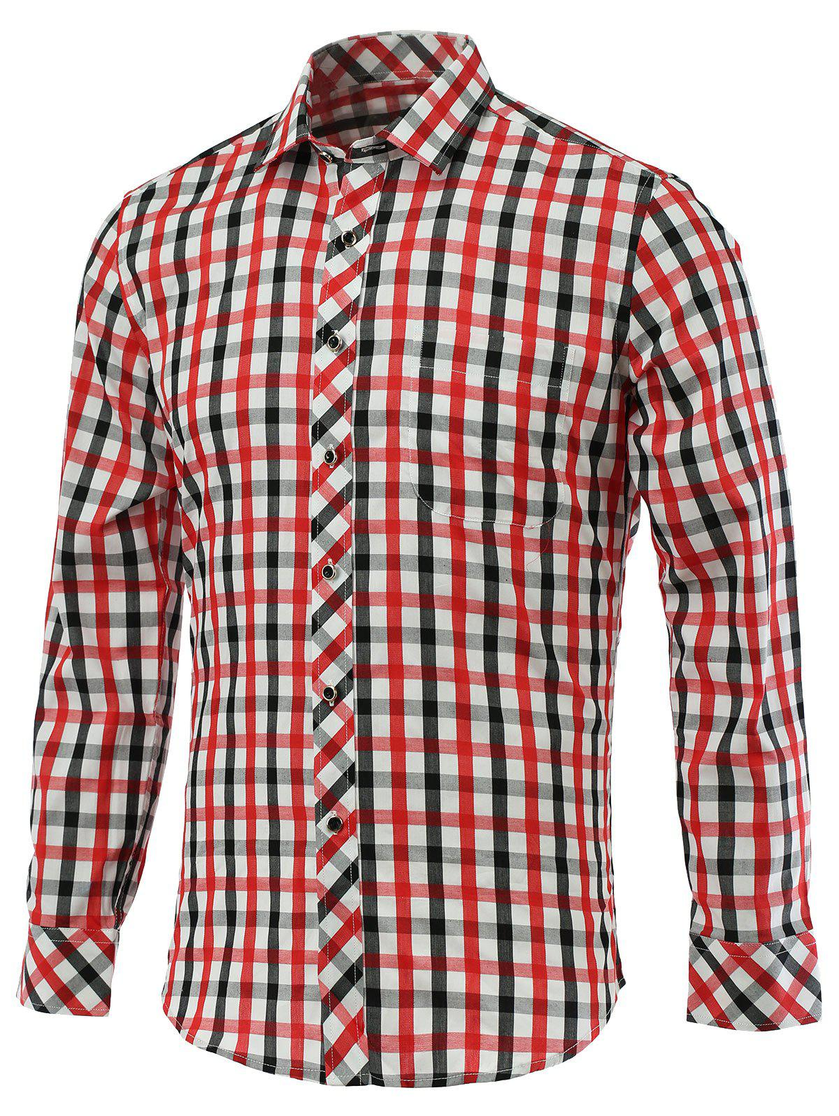 Color Block Gingham Turn-Down Collar Long Sleeve Shirt - RED 5XL