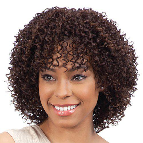Fashion Medium Heat Resistant Synthetic Fluffy Curly Brown Capless Wig For Women - BROWN