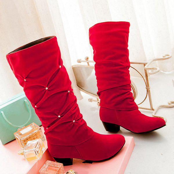 Trendy Ruched and Rhinestone Design Women's Mid-Calf Boots - RED 39
