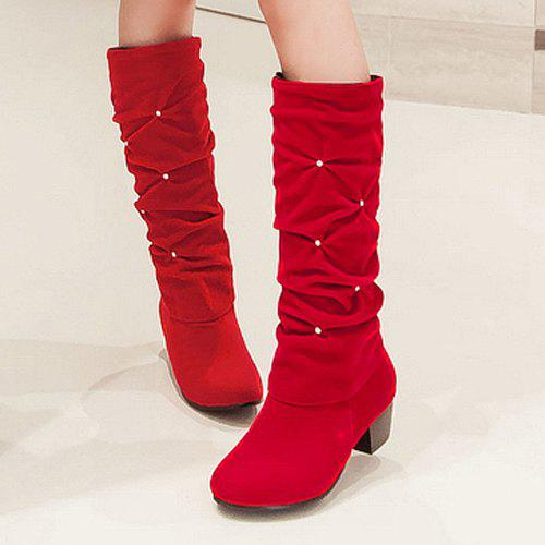 Trendy Ruched and Rhinestone Design Women's Mid-Calf Boots - RED 41