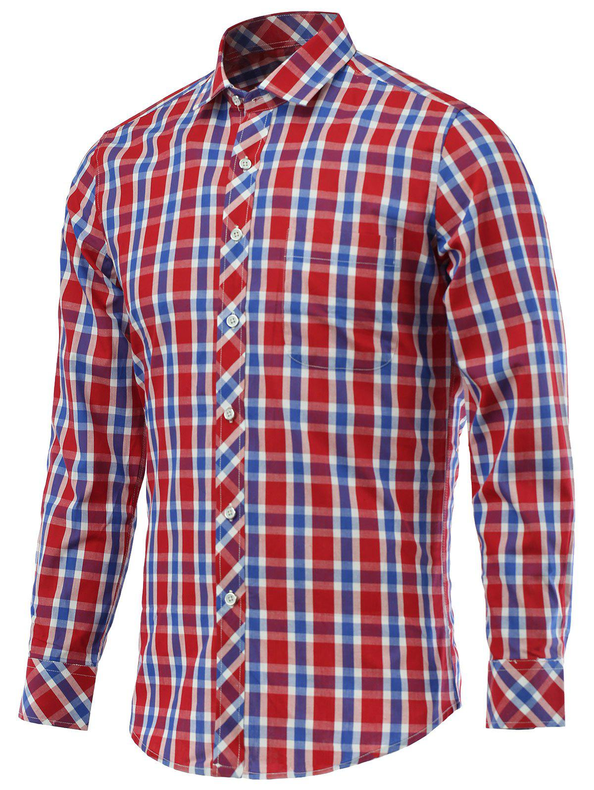 Gingham Pocket Design Turn-Down Collar Long Sleeve Shirt - CHECKED 5XL
