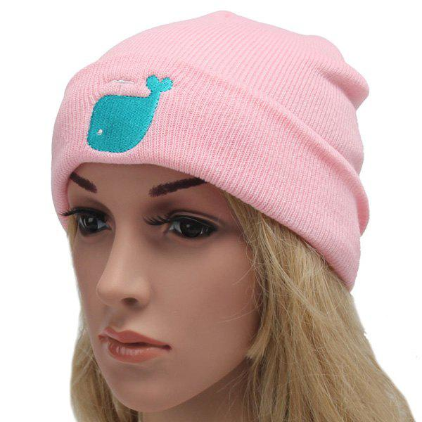 Winter Outdoor Warm Cartoon Whale Embroidery Flanging Knitted Beanie - PINK