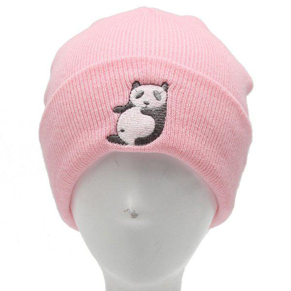 Winter Outdoor Warm Cartoon Panda Embroidery Flanging Knitted Beanie - PINK