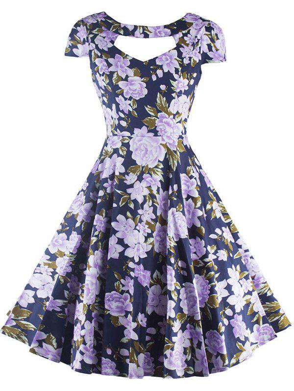 Vintage Cut Out Floral Swing Dress - 2XL PURPLISH BLUE