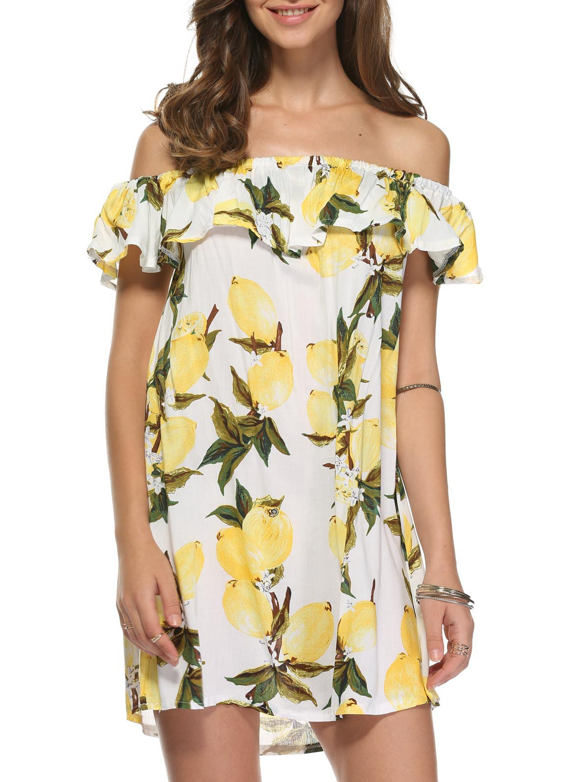 Cute Off-The-Shoulder Lemon Dress For Women - WHITE L