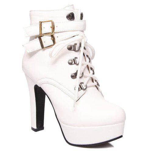 Fashion Tie Up and Double Buckle Design Women's Short Boots - WHITE 37