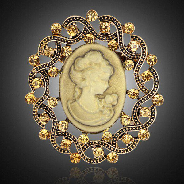 Emboss Figure Rhinestone BroochJewelry<br><br><br>Color: GOLDEN