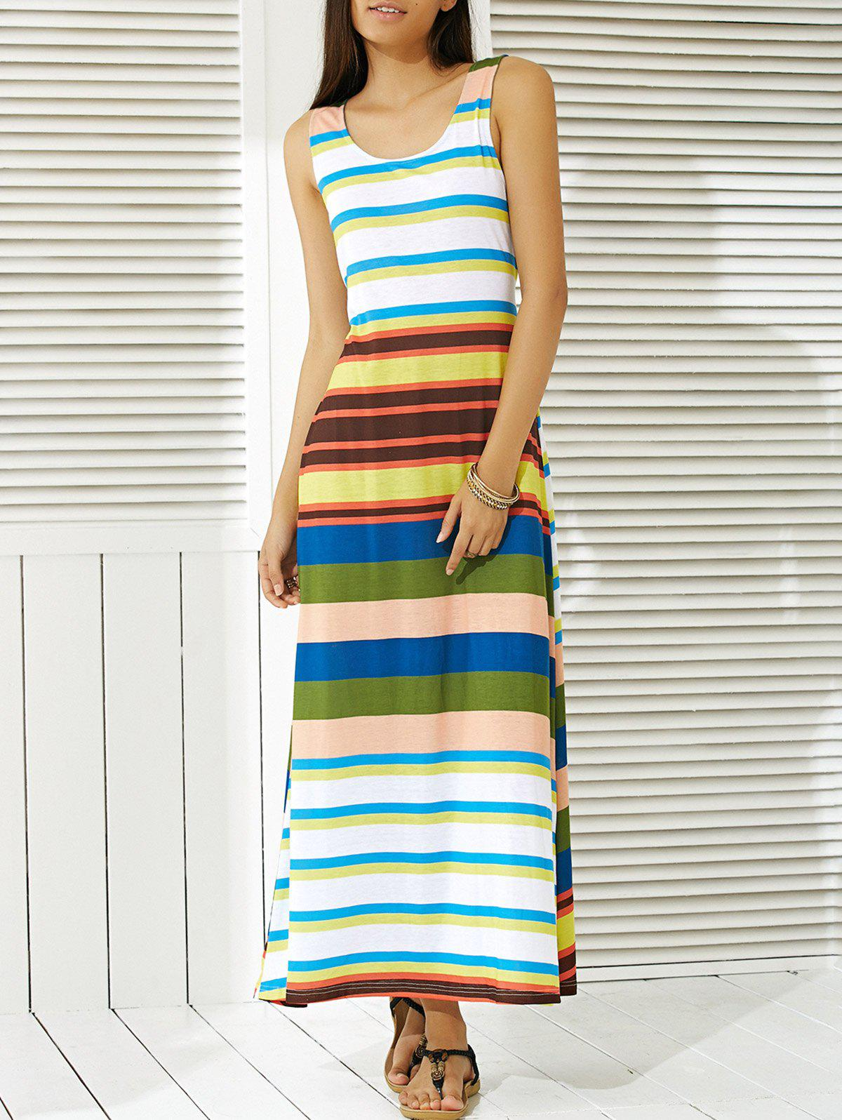 Colorful Striped Scoop Neck Dress